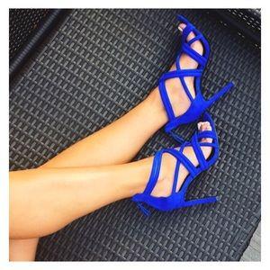 Zara cobalt blue suede heels
